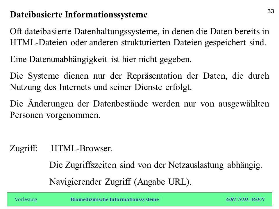 Dateibasierte Informationssysteme Oft dateibasierte Datenhaltungssysteme, in denen die Daten bereits in HTML-Dateien oder anderen strukturierten Datei