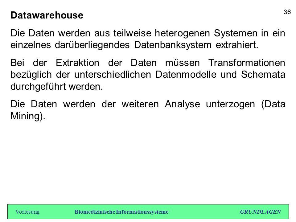 Datawarehouse Die Daten werden aus teilweise heterogenen Systemen in ein einzelnes darüberliegendes Datenbanksystem extrahiert. Bei der Extraktion der