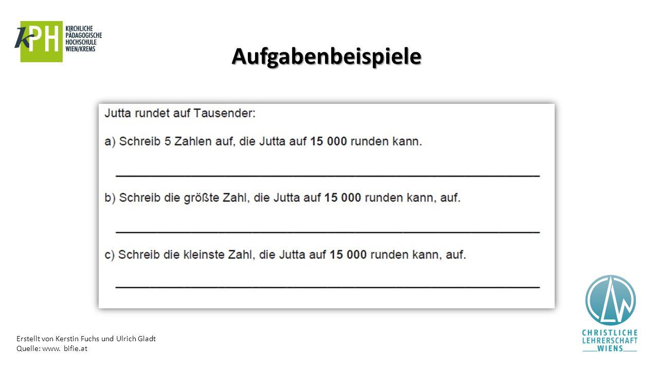 Erstellt von Kerstin Fuchs und Ulrich Gladt Quelle: www. bifie.at Aufgabenbeispiele