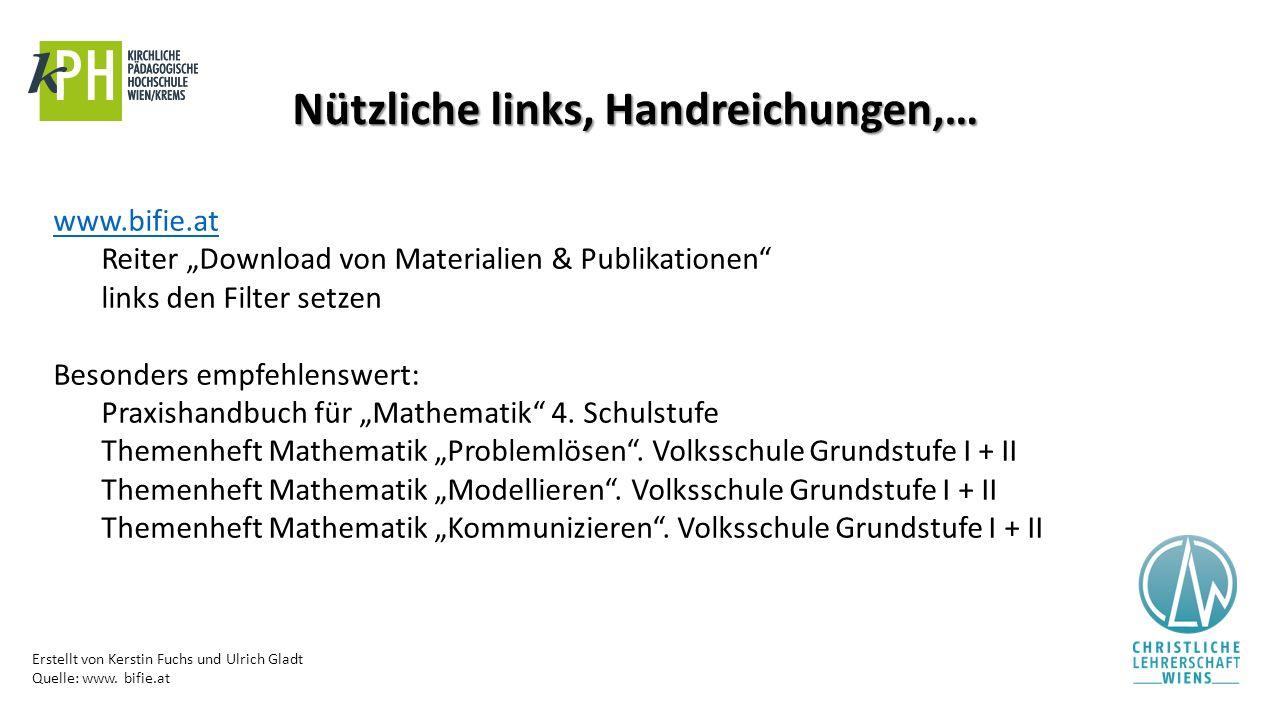 """Erstellt von Kerstin Fuchs und Ulrich Gladt Quelle: www. bifie.at Nützliche links, Handreichungen,… www.bifie.at Reiter """"Download von Materialien & Pu"""