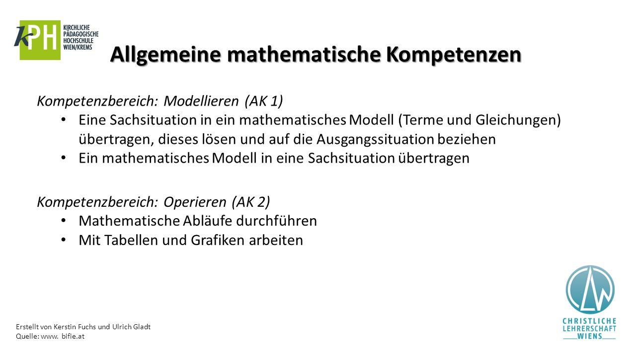 Erstellt von Kerstin Fuchs und Ulrich Gladt Quelle: www. bifie.at Allgemeine mathematische Kompetenzen Kompetenzbereich: Modellieren (AK 1) Eine Sachs
