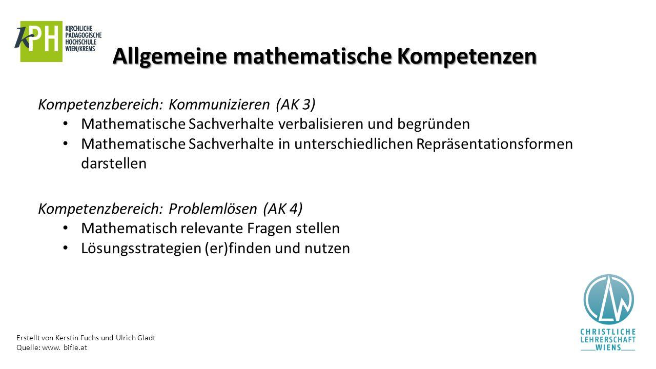 Erstellt von Kerstin Fuchs und Ulrich Gladt Quelle: www. bifie.at Allgemeine mathematische Kompetenzen Kompetenzbereich: Kommunizieren (AK 3) Mathemat
