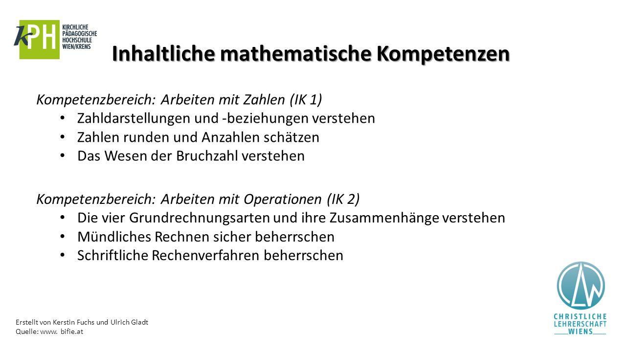 Erstellt von Kerstin Fuchs und Ulrich Gladt Quelle: www. bifie.at Inhaltliche mathematische Kompetenzen Kompetenzbereich: Arbeiten mit Zahlen (IK 1) Z