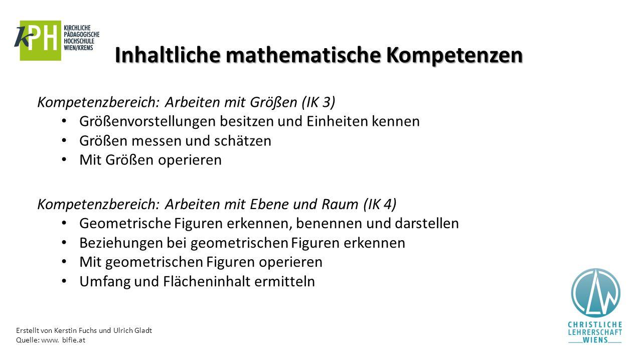 Erstellt von Kerstin Fuchs und Ulrich Gladt Quelle: www. bifie.at Inhaltliche mathematische Kompetenzen Kompetenzbereich: Arbeiten mit Größen (IK 3) G