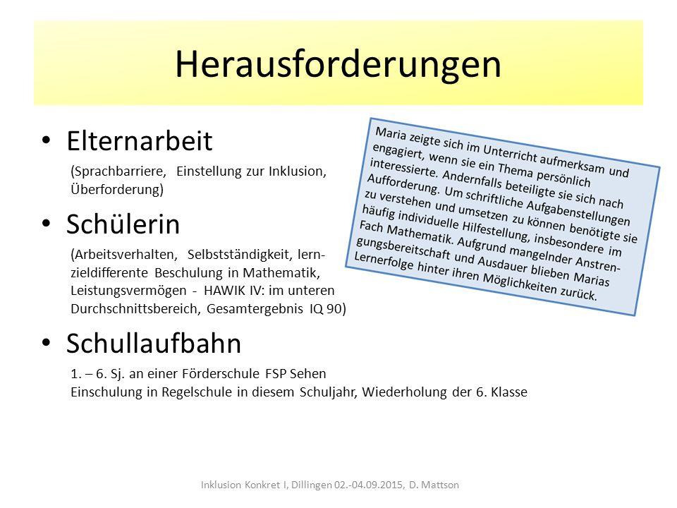 Herausforderungen Elternarbeit (Sprachbarriere, Einstellung zur Inklusion, Überforderung) Schülerin (Arbeitsverhalten, Selbstständigkeit, lern- zieldi