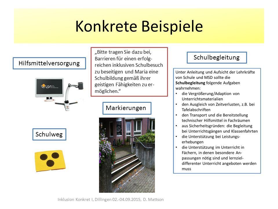 """Konkrete Beispiele Inklusion Konkret I, Dillingen 02.-04.09.2015, D. Mattson Schulbegleitung Hilfsmittelversorgung Markierungen Schulweg """"Bitte tragen"""