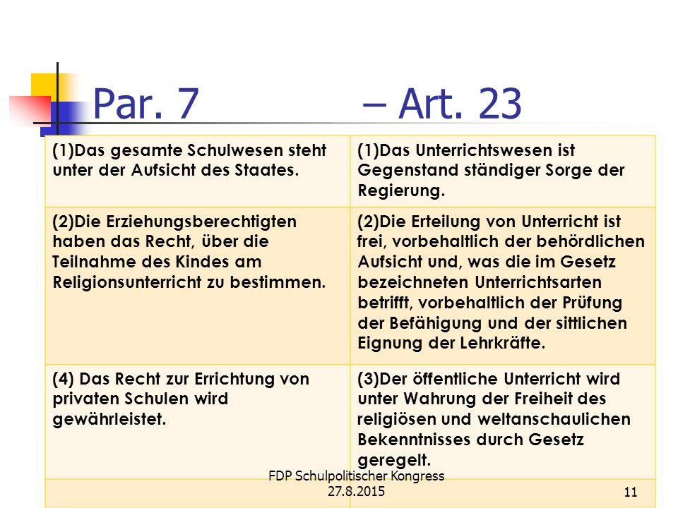 Par. 7 – Art. 23 (1)Das gesamte Schulwesen steht unter der Aufsicht des Staates.