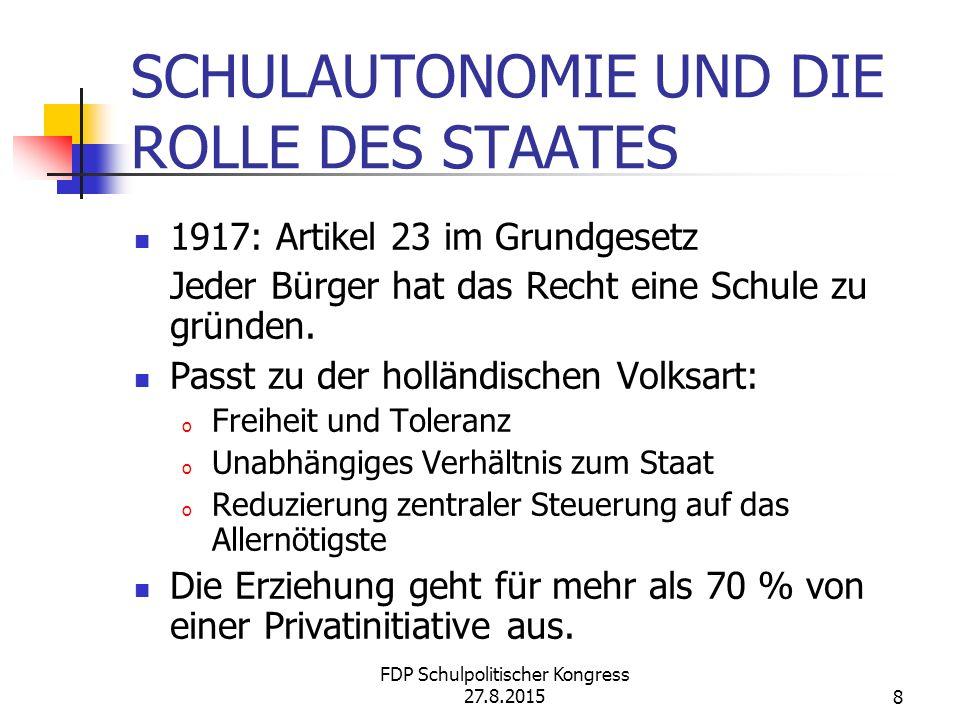 8 SCHULAUTONOMIE UND DIE ROLLE DES STAATES 1917: Artikel 23 im Grundgesetz Jeder Bürger hat das Recht eine Schule zu gründen.