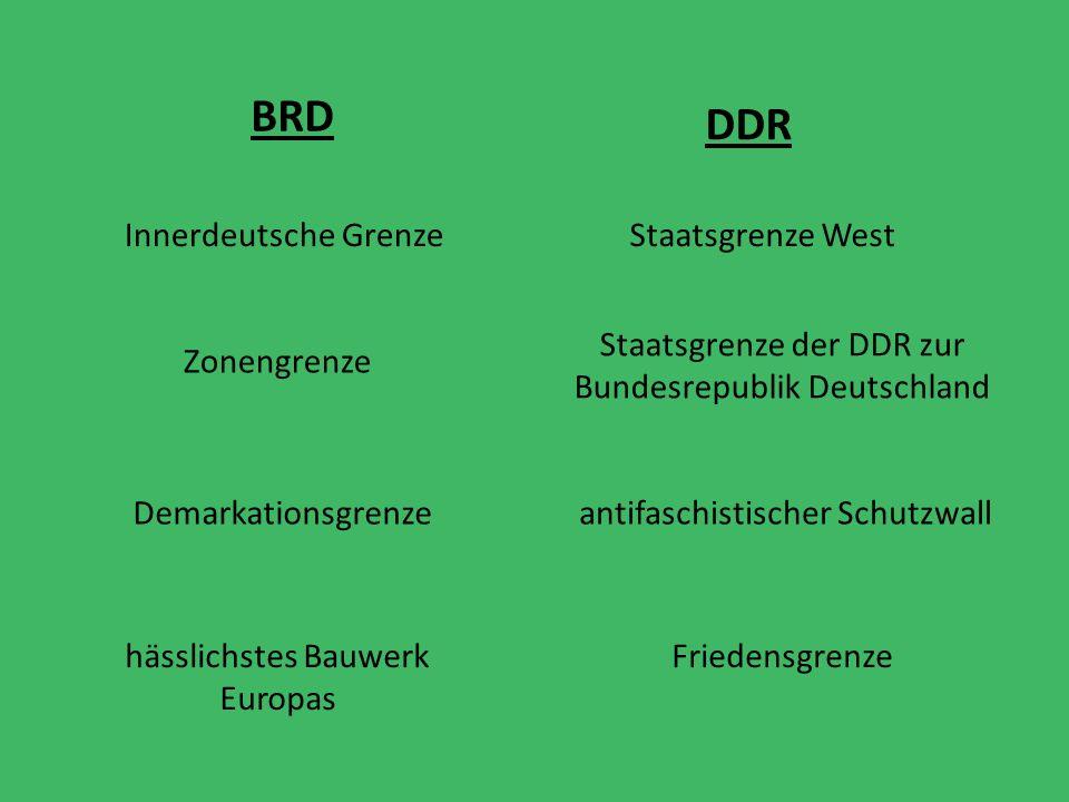 Staatsgrenze der DDR zur Bundesrepublik Deutschland Demarkationsgrenze Staatsgrenze West antifaschistischer Schutzwall Innerdeutsche Grenze Zonengrenze BRD DDR hässlichstes Bauwerk Europas Friedensgrenze