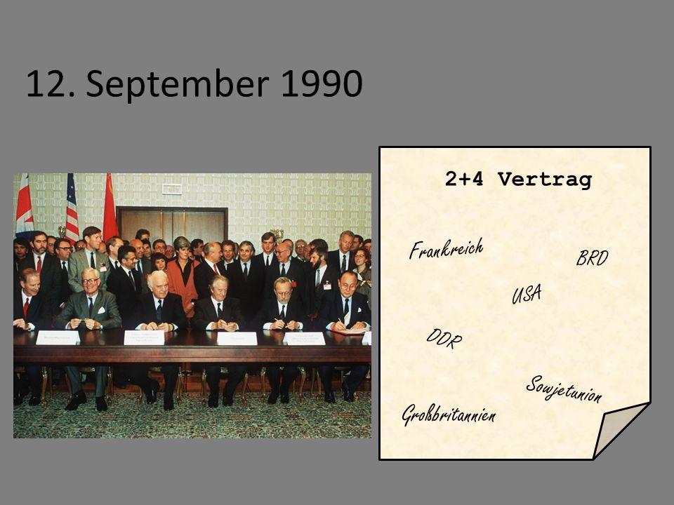 12. September 1990 2+4 Vertrag DDR BRD Frankreich Großbritannien USA Sowjetunion
