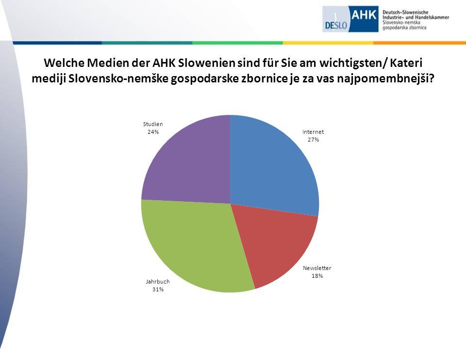 Welche Medien der AHK Slowenien sind für Sie am wichtigsten/ Kateri mediji Slovensko-nemške gospodarske zbornice je za vas najpomembnejši?
