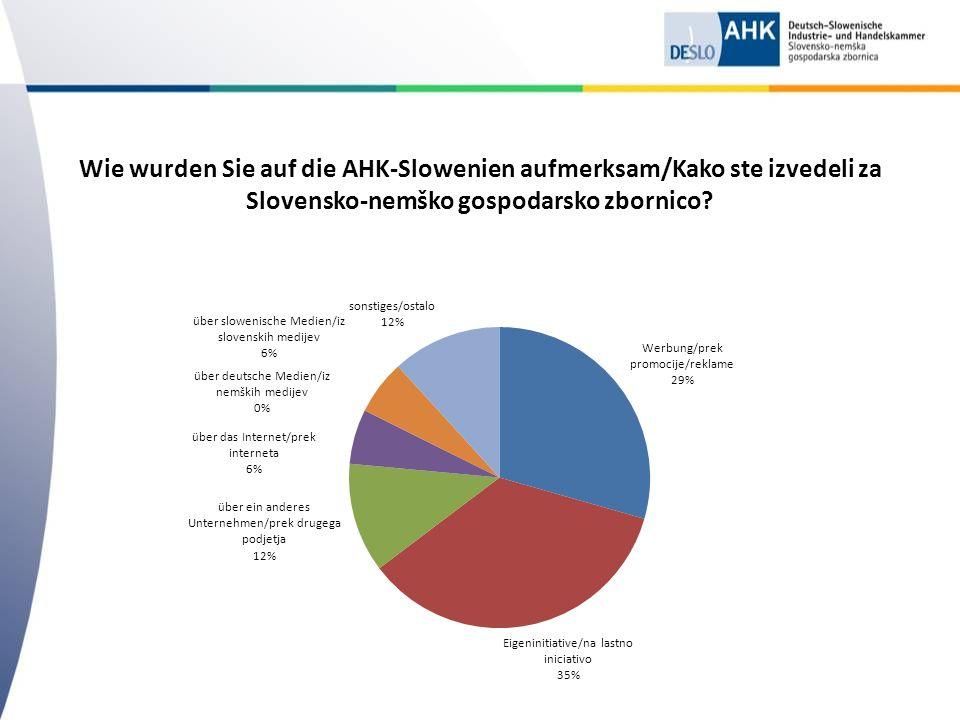 Wie wurden Sie auf die AHK-Slowenien aufmerksam/Kako ste izvedeli za Slovensko-nemško gospodarsko zbornico?