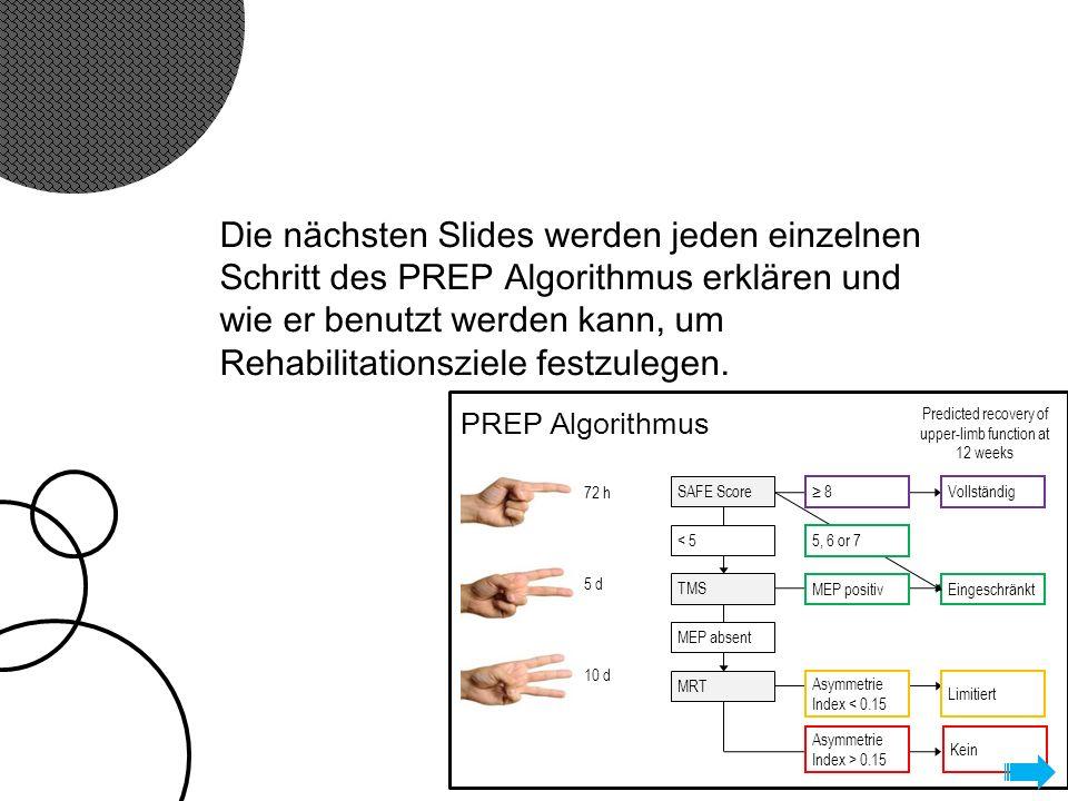 Die nächsten Slides werden jeden einzelnen Schritt des PREP Algorithmus erklären und wie er benutzt werden kann, um Rehabilitationsziele festzulegen.