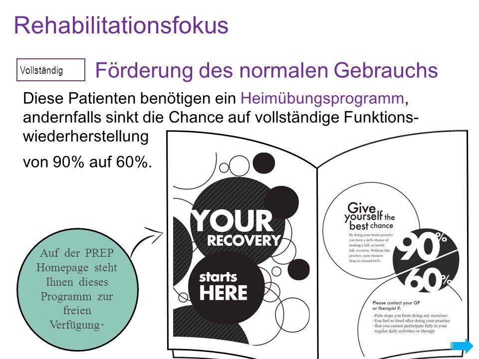 Vollständig Förderung des normalen Gebrauchs Rehabilitationsfokus Diese Patienten benötigen ein Heimübungsprogramm, andernfalls sinkt die Chance auf vollständige Funktions- wiederherstellung von 90% auf 60%.