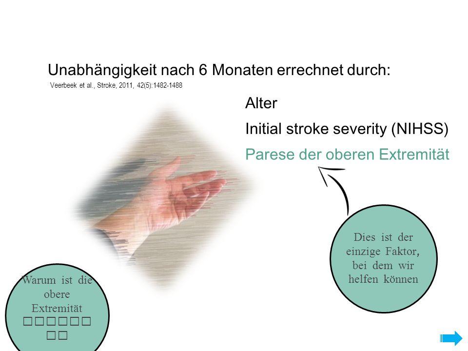 Warum ist die obere Extremität wichti g? Alter Initial stroke severity (NIHSS) Parese der oberen Extremität Unabhängigkeit nach 6 Monaten errechnet du