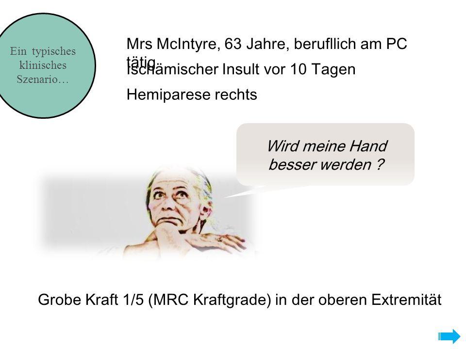 Ein typisches klinisches Szenario… Wird meine Hand besser werden ? Mrs McIntyre, 63 Jahre, berufllich am PC tätig Hemiparese rechts Ischämischer Insul