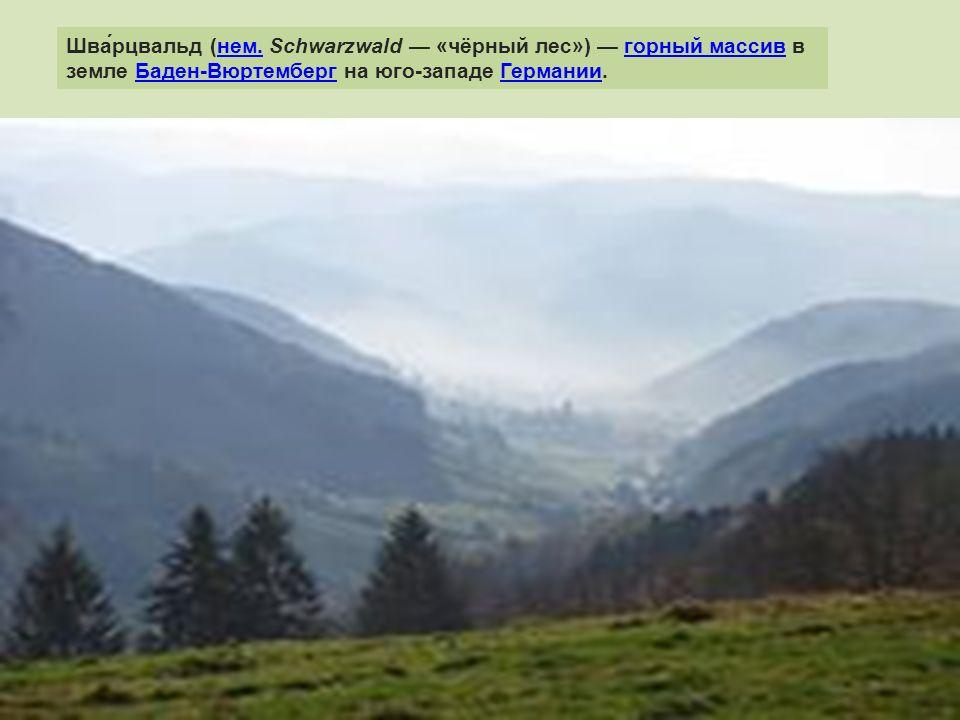 Шва́рцвальд (нем. Schwarzwald — «чёрный лес») — горный массив в земле Баден-Вюртемберг на юго-западе Германии.нем.горный массивБаден-ВюртембергГермани