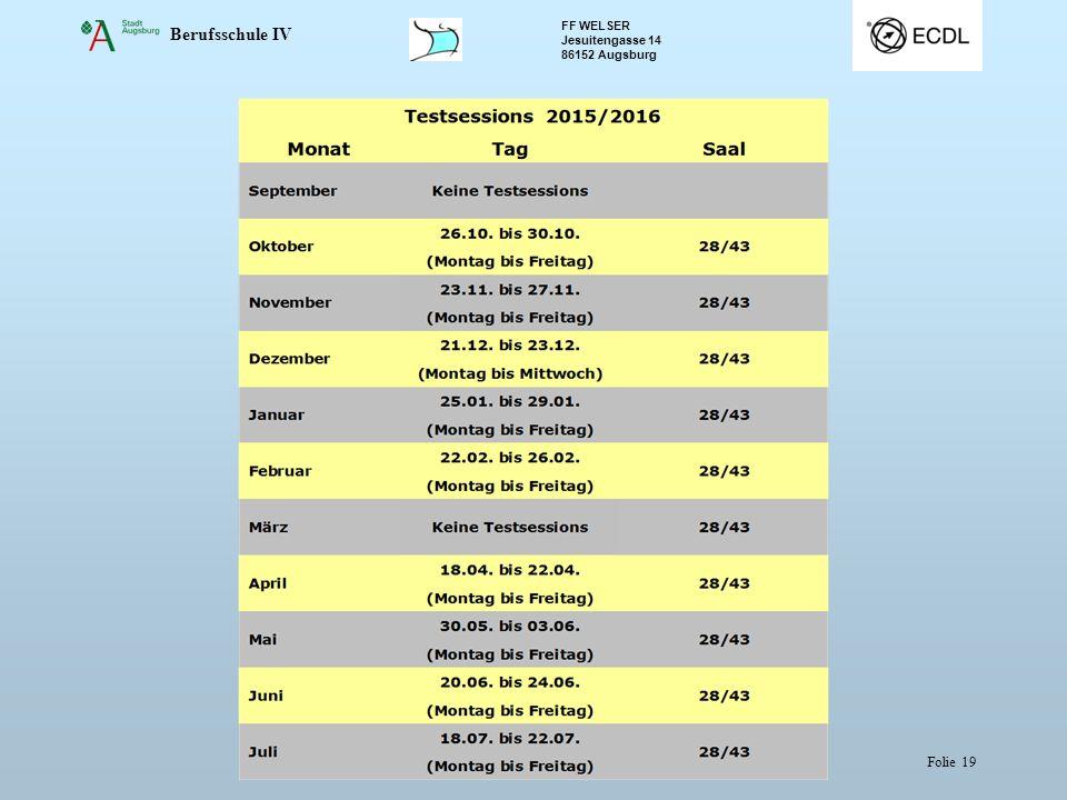 Berufsschule IV FF WELSER Jesuitengasse 14 86152 Augsburg Folie 19