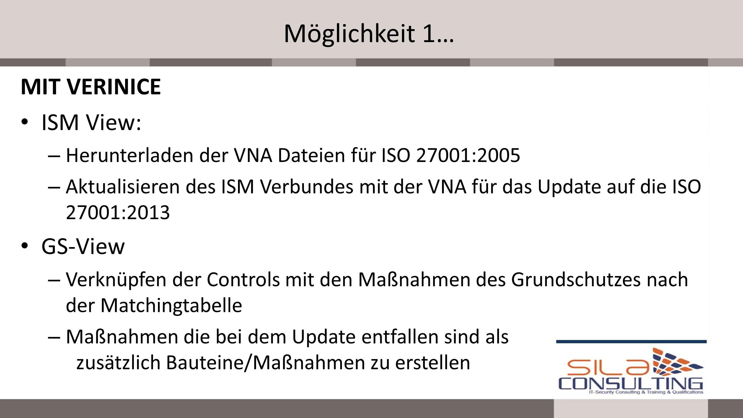 Möglichkeit 1… MIT VERINICE ISM View: – Herunterladen der VNA Dateien für ISO 27001:2005 – Aktualisieren des ISM Verbundes mit der VNA für das Update