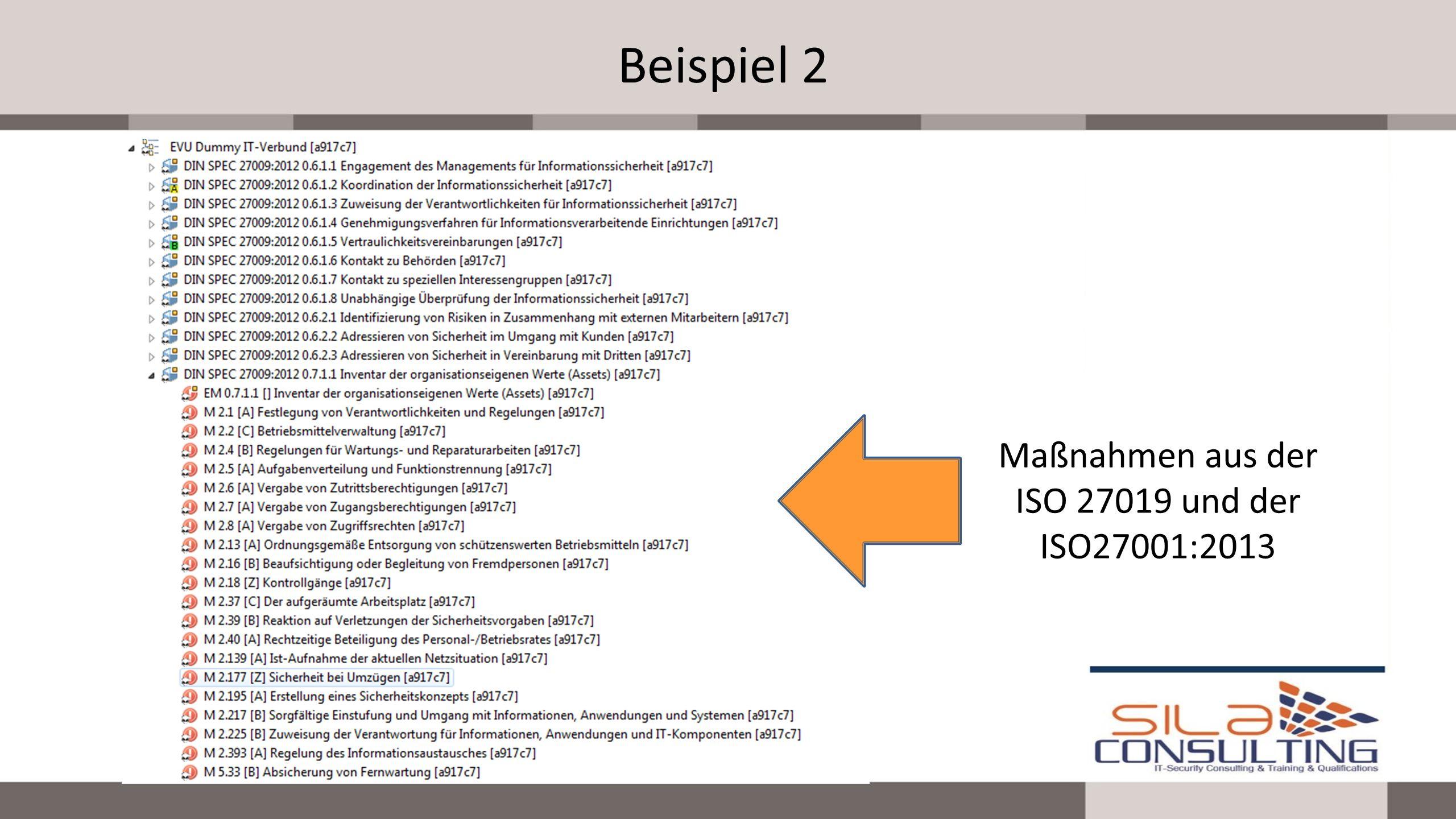 Beispiel 2 Maßnahmen aus der ISO 27019 und der ISO27001:2013
