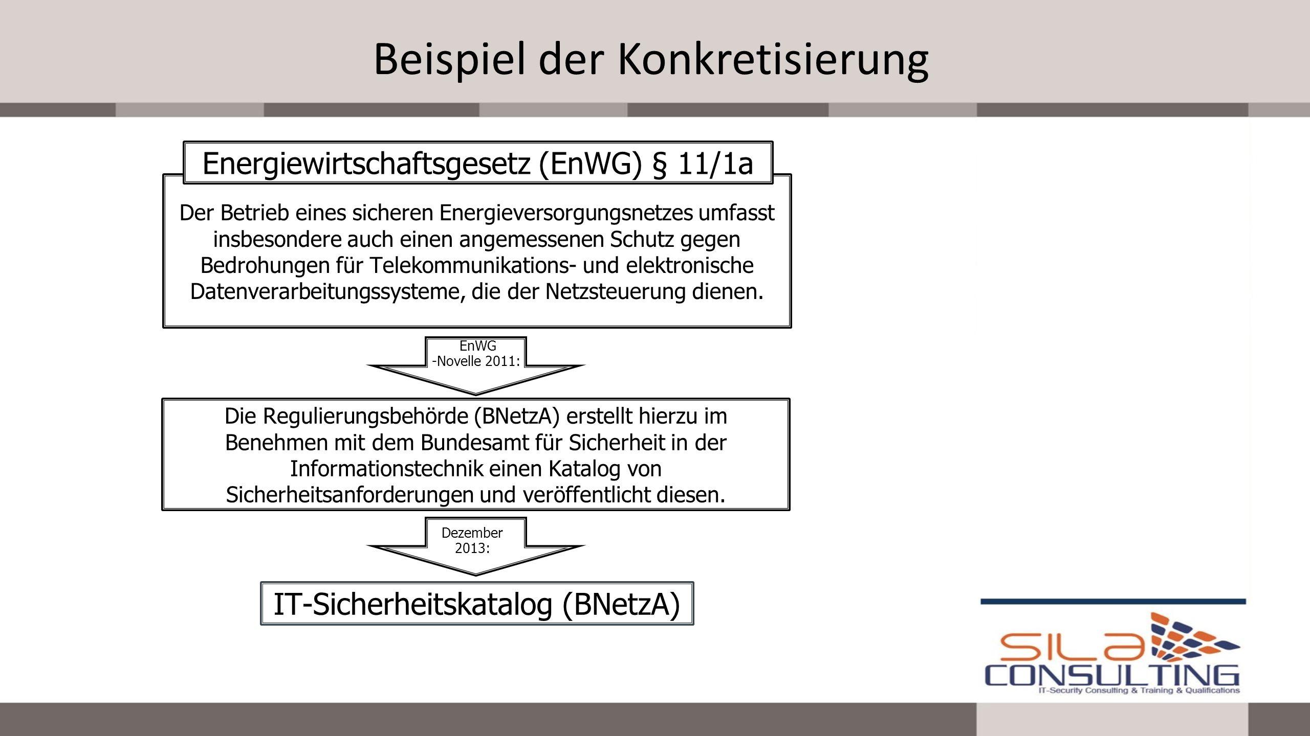 Beispiel der Konkretisierung Der Betrieb eines sicheren Energieversorgungsnetzes umfasst insbesondere auch einen angemessenen Schutz gegen Bedrohungen