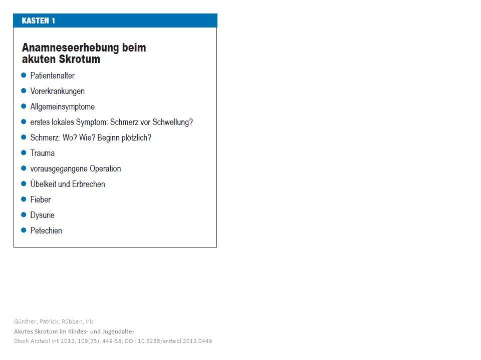 Günther, Patrick; Rübben, Iris Akutes Skrotum im Kindes- und Jugendalter Dtsch Arztebl Int 2012; 109(25): 449-58; DOI: 10.3238/arztebl.2012.0449