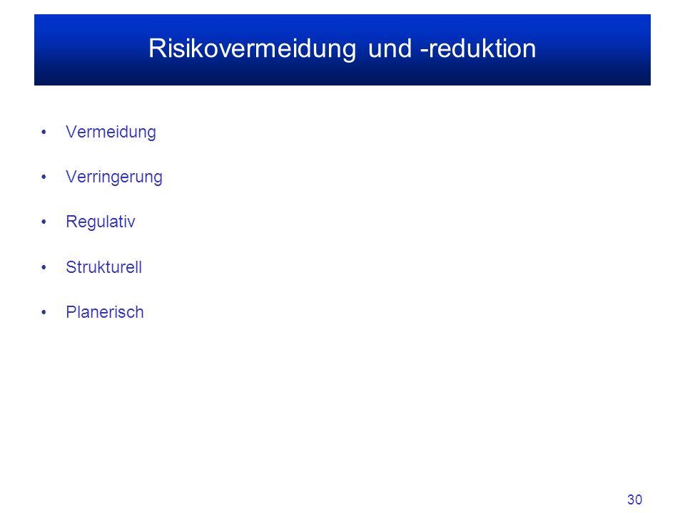30 Vermeidung Verringerung Regulativ Strukturell Planerisch Risikovermeidung und -reduktion