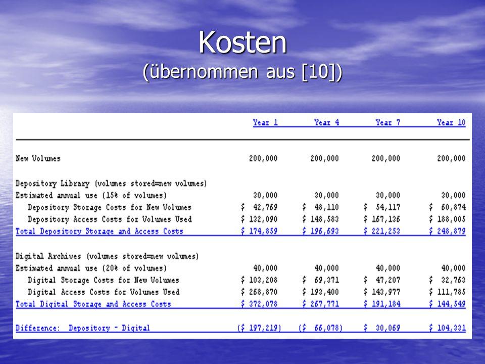 Kosten (übernommen aus [10])