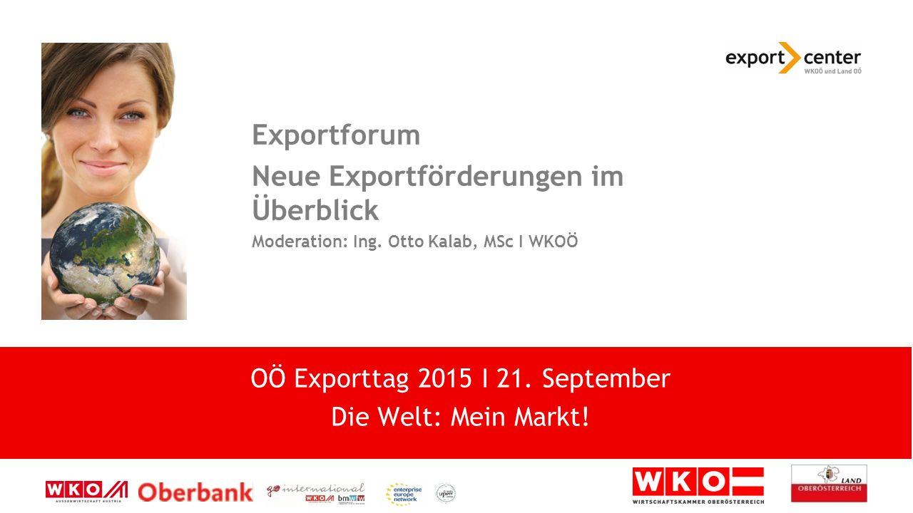 High-Tech zwischen Tradition und Moderne Exportforum Neue Exportförderungen im Überblick Moderation: Ing.