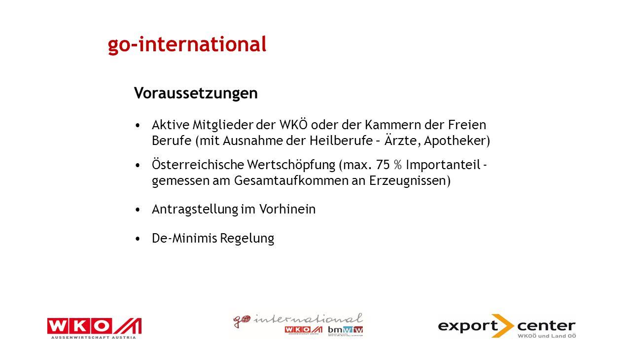 go-international Voraussetzungen Aktive Mitglieder der WKÖ oder der Kammern der Freien Berufe (mit Ausnahme der Heilberufe – Ärzte, Apotheker) Österreichische Wertschöpfung (max.