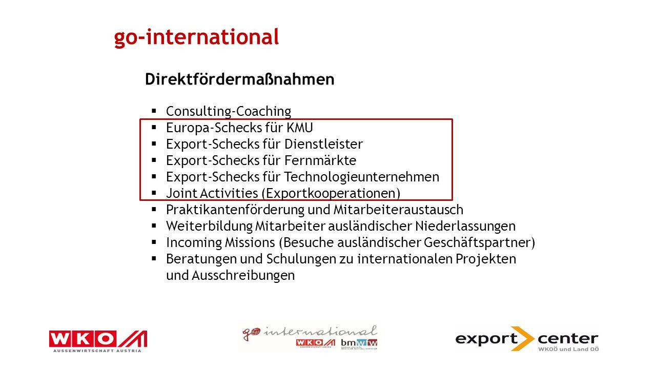 Joint Activities Exportkooperationen 3 österreichische Unternehmen (oder mehr) 1 gemeinsame Veranstaltung (z.B.