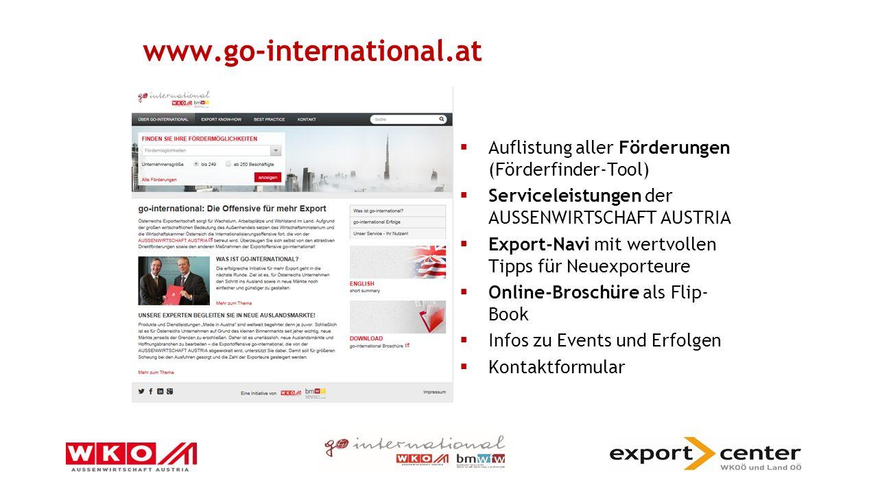 go-international 10 Direktfördermaßnahmen  1.2.1 Consulting-Coaching  1.2.3 NPI Hilfestellung drittfinanzierte Projekte  1.4 Europa-Schecks für KMU  2.3 Joint Activities (Exportkooperationen)  2.5 Export-Schecks für Technologieunternehmen  3.4.1 Praktikantenförderung und Mitarbeiteraustausch  3.4.2 Weiterbildungsprogramm Ausland  3.5 Export-Schecks für Dienstleister  4.2 Export-Schecks für Fernmärkte  5.5.1 Incoming Missions €