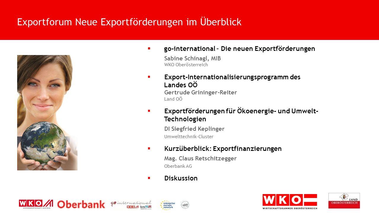  go-international – Die neuen Exportförderungen OÖ Exporttag 2015 Die Welt: Mein Markt.