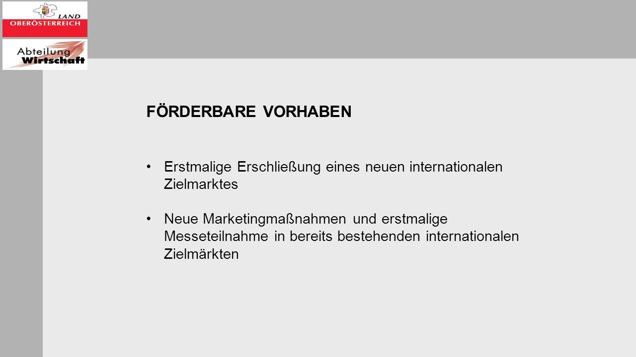 FÖRDERBARE VORHABEN Erstmalige Erschließung eines neuen internationalen Zielmarktes Neue Marketingmaßnahmen und erstmalige Messeteilnahme in bereits bestehenden internationalen Zielmärkten