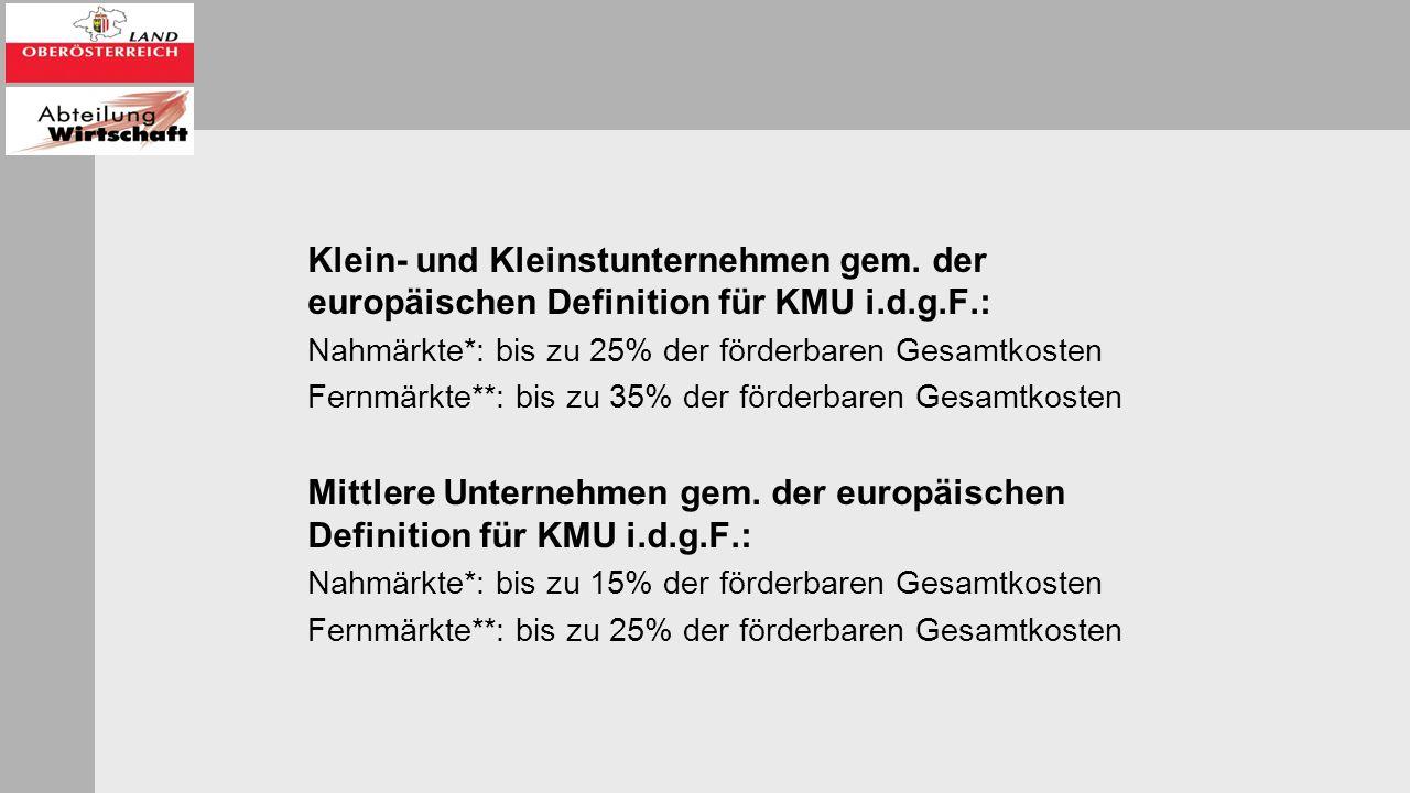 AUSSCHLUSS VON DER FÖRDERUNG Vorhaben, mit deren Durchführung vor Einbringung eines Förderungsansuchens bei einer Förderstelle des Bundes oder des Landes Oberösterreich begonnen worden ist; Vorhaben in der Sparte 'Waffengewerbe einschließlich Waffenhandel' Kosten, die nicht direkt im Zusammenhang mit einem förderungsfähigen Projekt stehen.