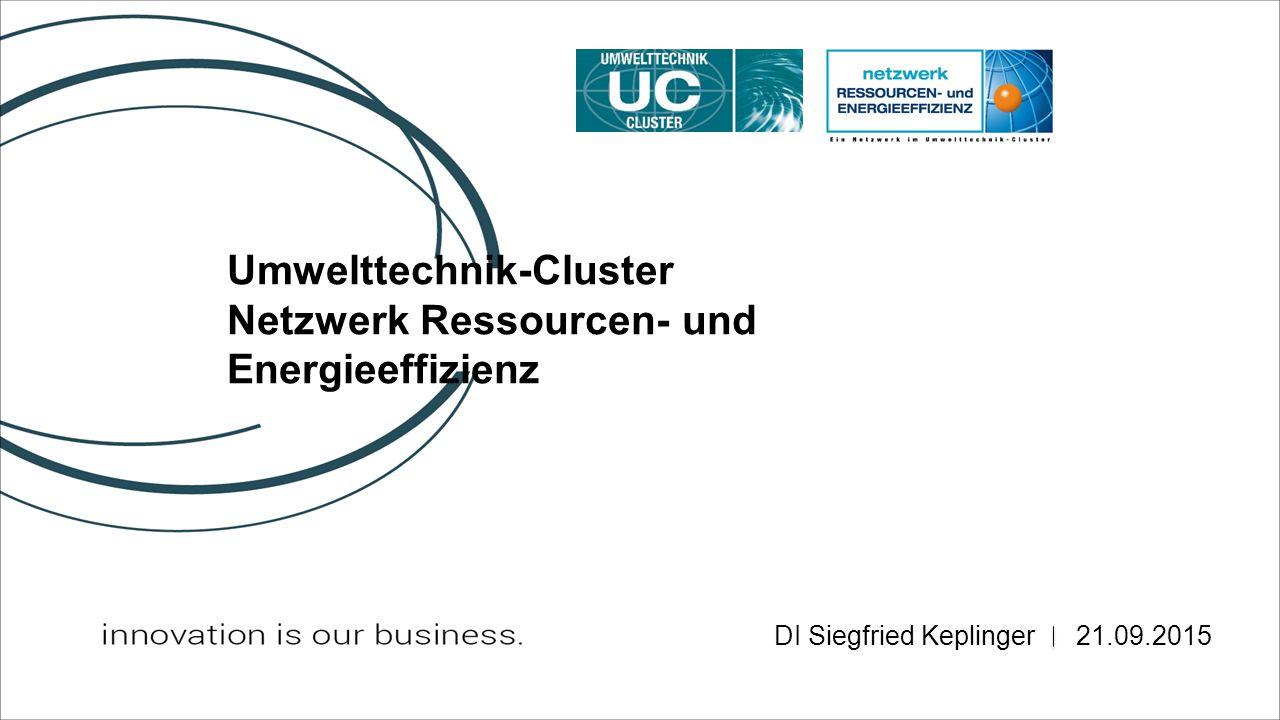 Umwelttechnik-Cluster Netzwerk Ressourcen- und Energieeffizienz 21.09.2015 DI Siegfried Keplinger