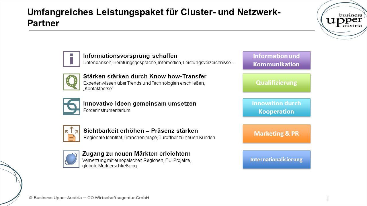 """Umfangreiches Leistungspaket für Cluster- und Netzwerk- Partner Information und Kommunikation Qualifizierung Innovation durch Kooperation Marketing & PR Internationalisierung Innovative Ideen gemeinsam umsetzen Förderinstrumentarium Sichtbarkeit erhöhen – Präsenz stärken Regionale Identität, Branchenimage, Türöffner zu neuen Kunden Zugang zu neuen Märkten erleichtern Vernetzung mit europäischen Regionen, EU-Projekte, globale Markterschließung Stärken stärken durch Know how-Transfer Expertenwissen über Trends und Technologien erschließen, """"Kontaktbörse Informationsvorsprung schaffen Datenbanken, Beratungsgespräche, Infomedien, Leistungsverzeichnisse…"""