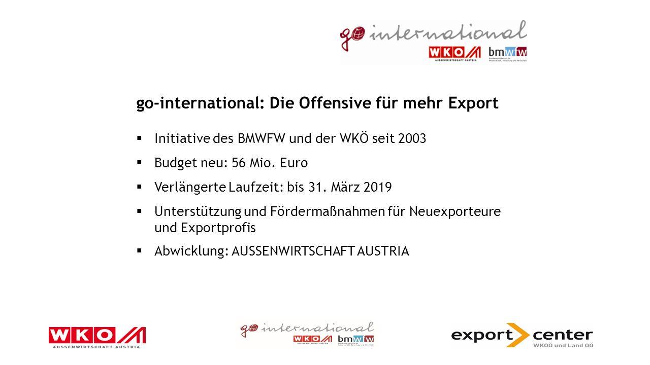 go-international: Die Offensive für mehr Export  Initiative des BMWFW und der WKÖ seit 2003  Budget neu: 56 Mio.