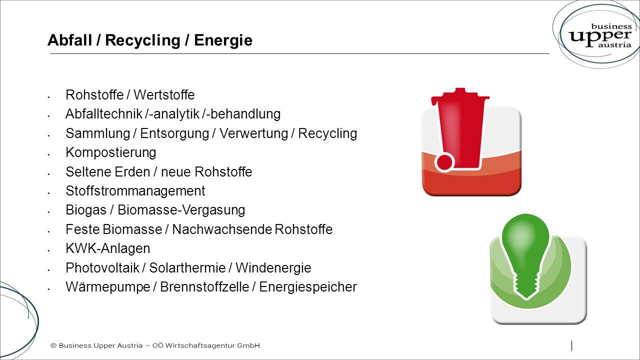 Abfall / Recycling / Energie Rohstoffe / Wertstoffe Abfalltechnik /-analytik /-behandlung Sammlung / Entsorgung / Verwertung / Recycling Kompostierung Seltene Erden / neue Rohstoffe Stoffstrommanagement Biogas / Biomasse-Vergasung Feste Biomasse / Nachwachsende Rohstoffe KWK-Anlagen Photovoltaik / Solarthermie / Windenergie Wärmepumpe / Brennstoffzelle / Energiespeicher