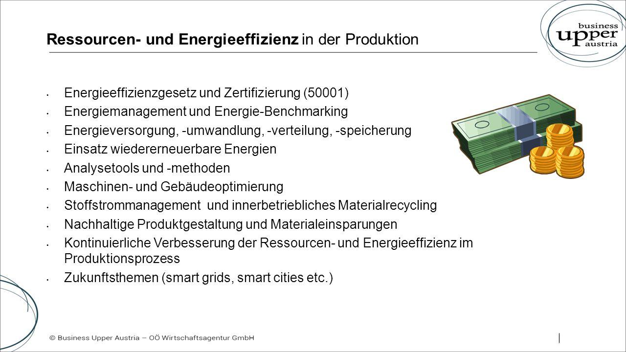 Ressourcen- und Energieeffizienz in der Produktion Energieeffizienzgesetz und Zertifizierung (50001) Energiemanagement und Energie-Benchmarking Energieversorgung, -umwandlung, -verteilung, -speicherung Einsatz wiedererneuerbare Energien Analysetools und -methoden Maschinen- und Gebäudeoptimierung Stoffstrommanagement und innerbetriebliches Materialrecycling Nachhaltige Produktgestaltung und Materialeinsparungen Kontinuierliche Verbesserung der Ressourcen- und Energieeffizienz im Produktionsprozess Zukunftsthemen (smart grids, smart cities etc.)