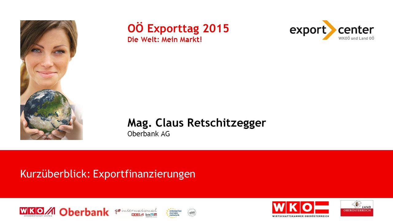 Kurzüberblick: Exportfinanzierungen OÖ Exporttag 2015 Die Welt: Mein Markt.