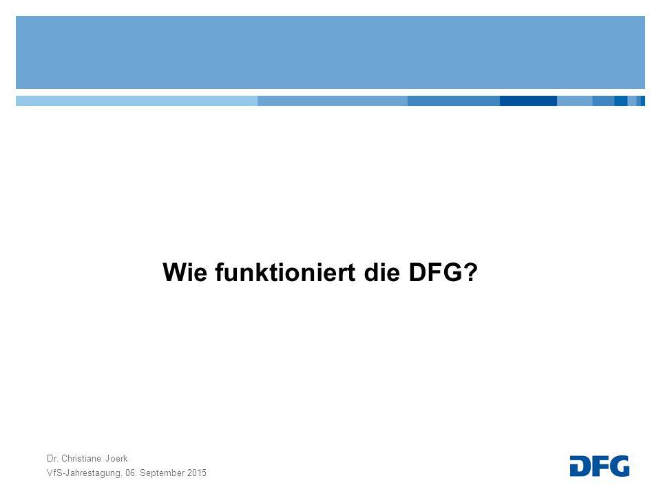 Wie funktioniert die DFG? VfS-Jahrestagung, 06. September 2015 Dr. Christiane Joerk