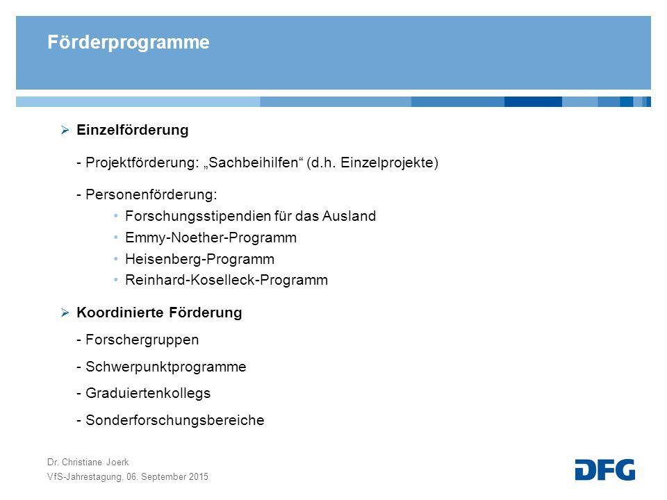 """Förderprogramme  Einzelförderung - Projektförderung: """"Sachbeihilfen (d.h."""