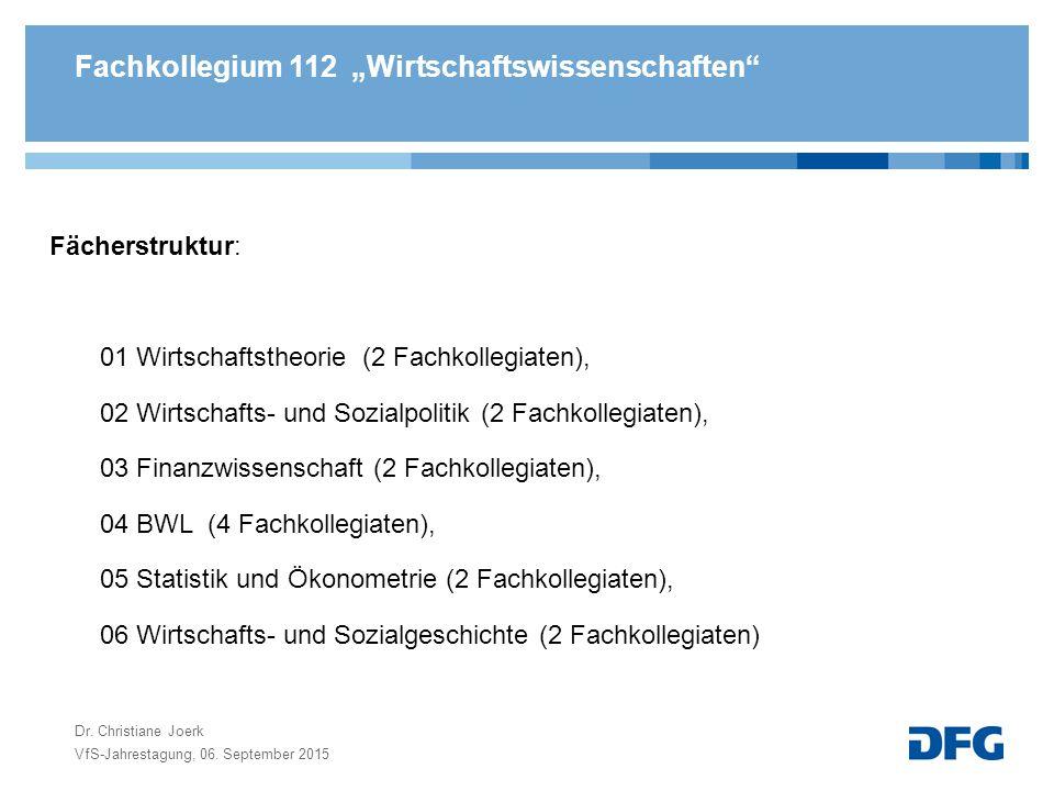 """Fachkollegium 112 """"Wirtschaftswissenschaften Fächerstruktur: 01 Wirtschaftstheorie (2 Fachkollegiaten), 02 Wirtschafts- und Sozialpolitik (2 Fachkollegiaten), 03 Finanzwissenschaft (2 Fachkollegiaten), 04 BWL (4 Fachkollegiaten), 05 Statistik und Ökonometrie (2 Fachkollegiaten), 06 Wirtschafts- und Sozialgeschichte (2 Fachkollegiaten) VfS-Jahrestagung, 06."""
