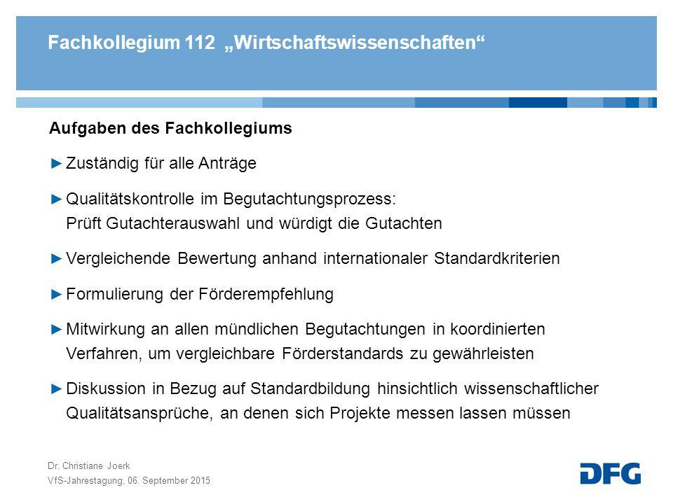 Begutachtung- und Entscheidungsprozess VfS-Jahrestagung, 06. September 2015 Dr. Christiane Joerk