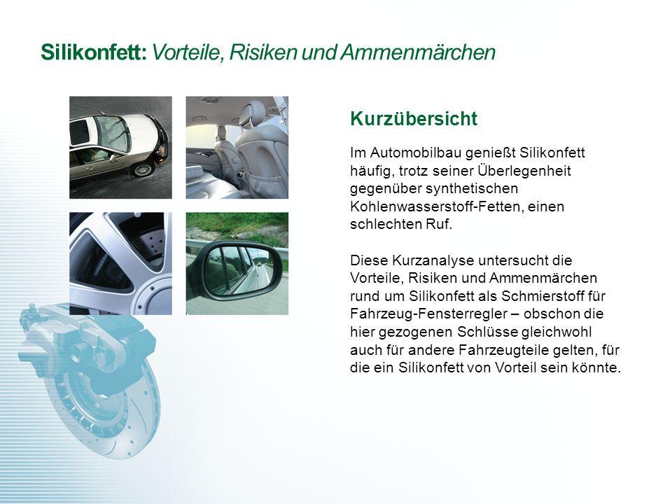 Silikonfett: Vorteile, Risiken und Ammenmärchen Kurzübersicht Im Automobilbau genießt Silikonfett häufig, trotz seiner Überlegenheit gegenüber synthet