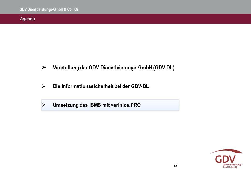 10  Vorstellung der GDV Dienstleistungs-GmbH (GDV-DL)  Die Informationssicherheit bei der GDV-DL  Umsetzung des ISMS mit verinice.PRO Agenda