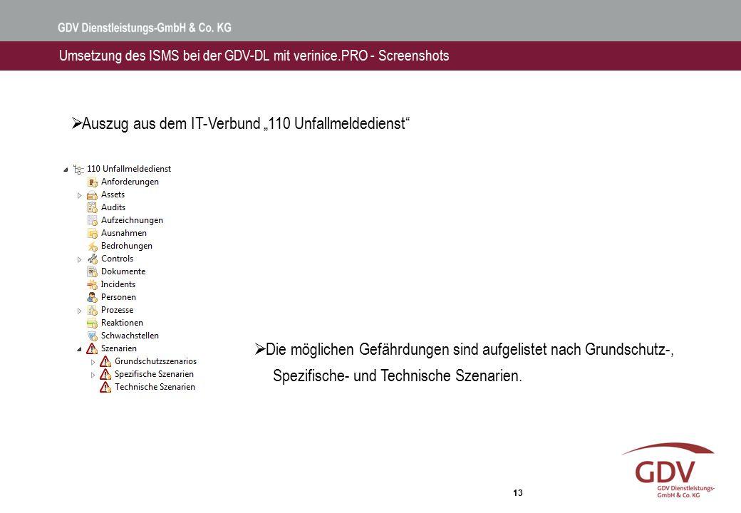 """13 Umsetzung des ISMS bei der GDV-DL mit verinice.PRO - Screenshots  Auszug aus dem IT-Verbund """"110 Unfallmeldedienst""""  Die möglichen Gefährdungen s"""
