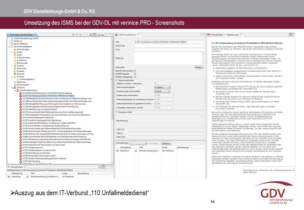 """14 Umsetzung des ISMS bei der GDV-DL mit verinice.PRO - Screenshots  Auszug aus dem IT-Verbund """"110 Unfallmeldedienst"""""""