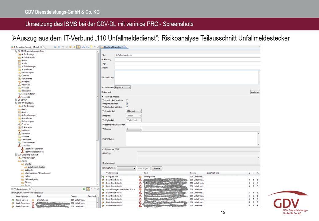 """15 Umsetzung des ISMS bei der GDV-DL mit verinice.PRO - Screenshots  Auszug aus dem IT-Verbund """"110 Unfallmeldedienst"""": Risikoanalyse Teilausschnitt"""